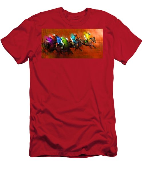Horses Racing 01 Men's T-Shirt (Athletic Fit)