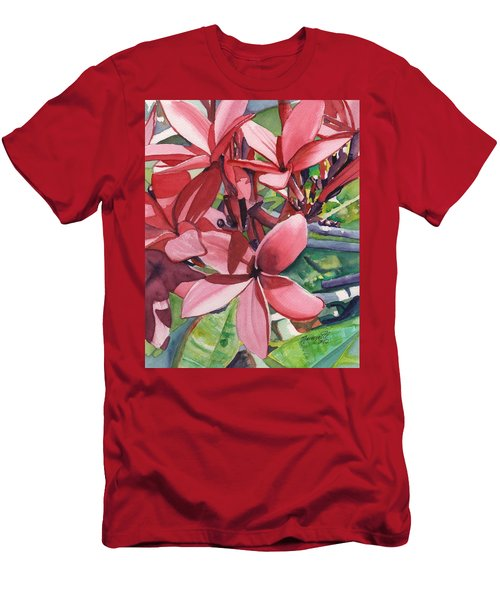 Hot Pink Plumeria Men's T-Shirt (Athletic Fit)