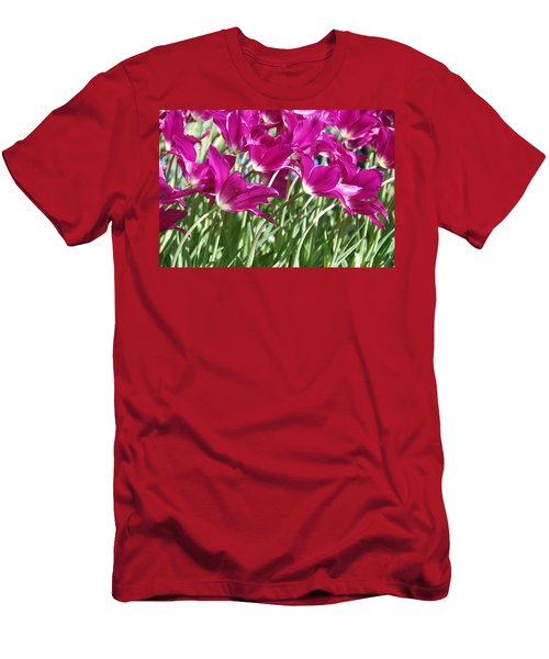 Men's T-Shirt (Slim Fit) featuring the photograph Hot Pink Tulips 2 by Allen Beatty