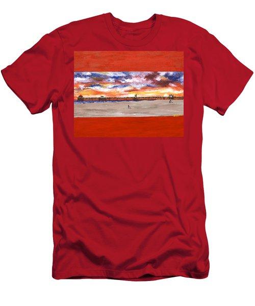 Huntington Beach Pier 3 Men's T-Shirt (Athletic Fit)