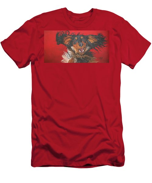 Men's T-Shirt (Slim Fit) featuring the painting I Am Sooooooo Happy To See You by Wendy Shoults