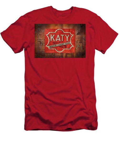 Katy Railroad Sign Dsc02853 Men's T-Shirt (Slim Fit) by Greg Kluempers