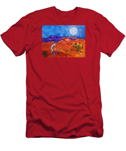 Kokopelli Playing To The Moon Men's T-Shirt (Slim Fit) by Ellen Levinson