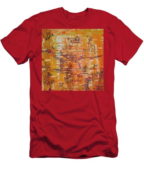Lattice Animals Abstract Oil Painting By Regina Valluzzi Men's T-Shirt (Athletic Fit)