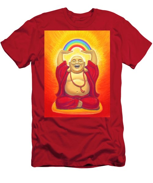Laughing Rainbow Buddha Men's T-Shirt (Slim Fit) by Sue Halstenberg