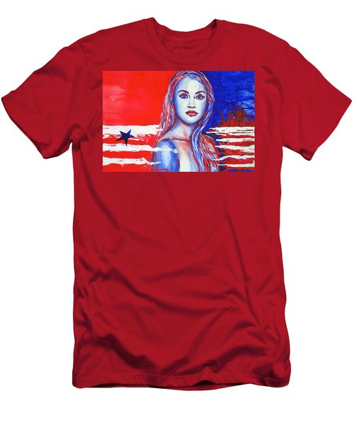 Liberty American Girl Men's T-Shirt (Slim Fit) by Anna Ruzsan