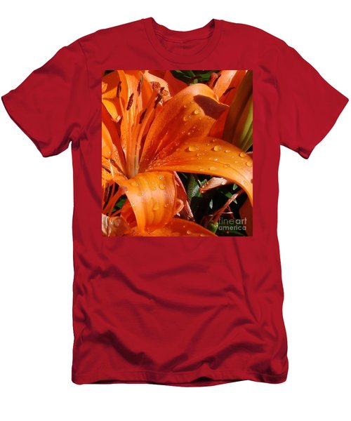 Men's T-Shirt (Slim Fit) featuring the photograph Lily Drops by Kerri Mortenson