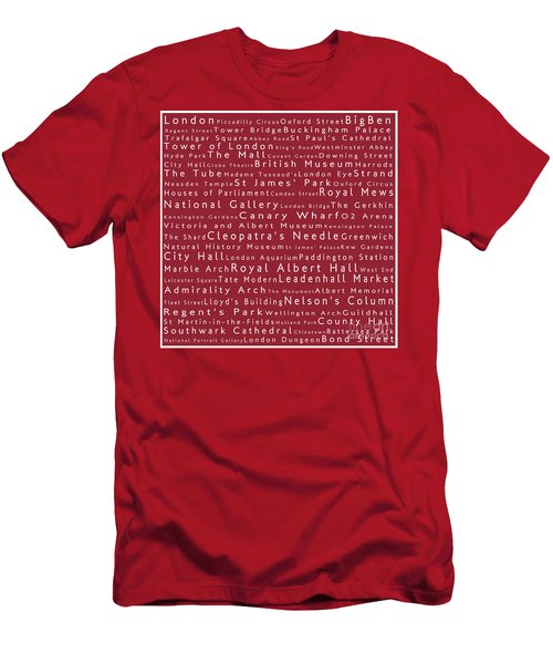 London In Words Red Men's T-Shirt (Athletic Fit)