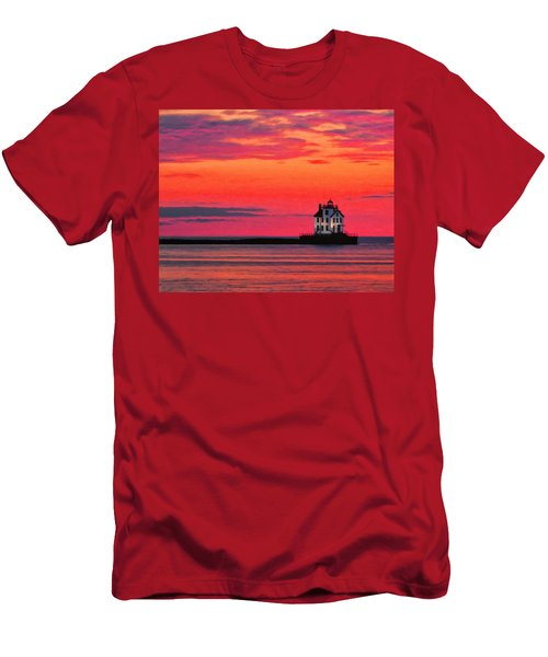 Lorain Lighthouse At Sunset Men's T-Shirt (Athletic Fit)
