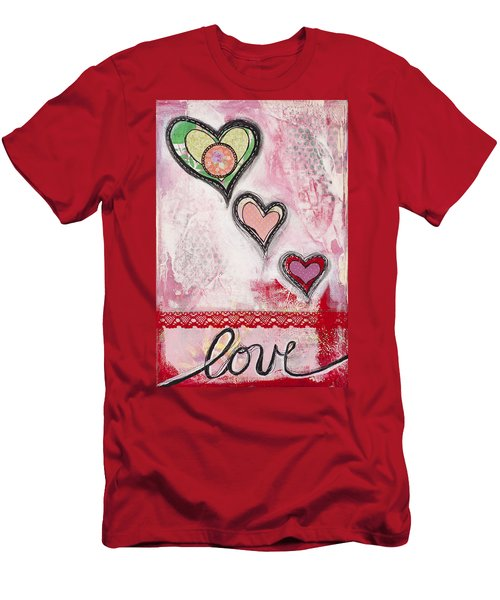 Men's T-Shirt (Slim Fit) featuring the mixed media Love  by Stanka Vukelic