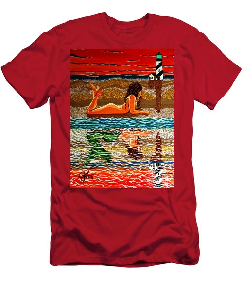 Men's T-Shirt (Slim Fit) featuring the painting Mermaid Day Dreaming  by Jackie Carpenter