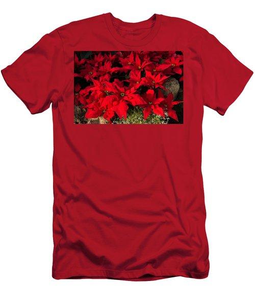 Merry Scarlet Poinsettias Christmas Star Men's T-Shirt (Athletic Fit)