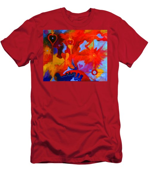 Men's T-Shirt (Slim Fit) featuring the painting Message Of Love by Alison Caltrider