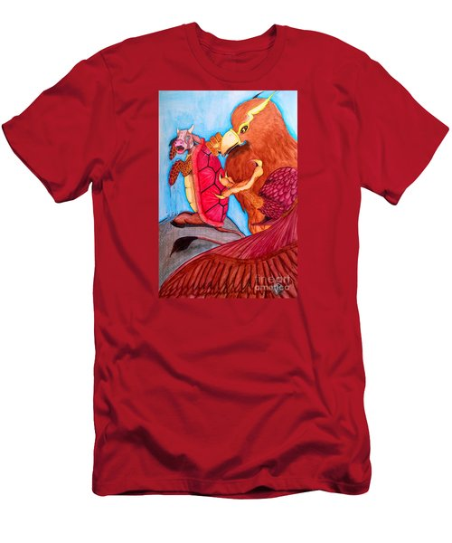 Men's T-Shirt (Slim Fit) featuring the painting Mock Turtle And Griffon by Justin Moore