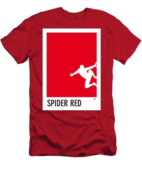 My Superhero 04 Spider Red Minimal Poster Men's T-Shirt (Athletic Fit)