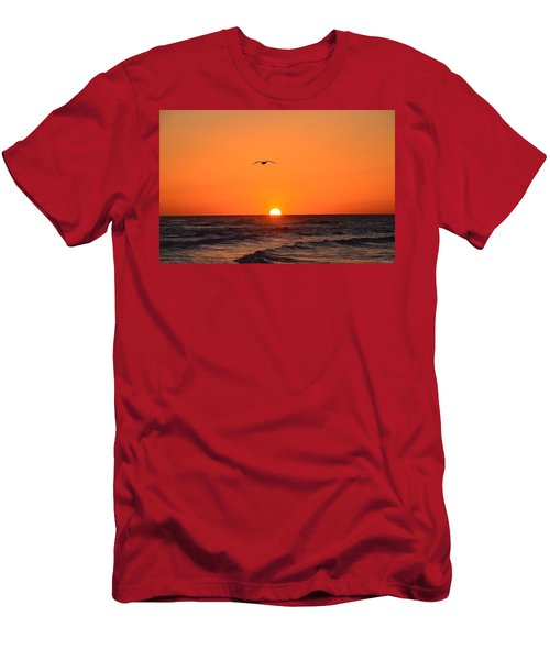 Navarre Beach Sunrise Waves And Bird Men's T-Shirt (Athletic Fit)
