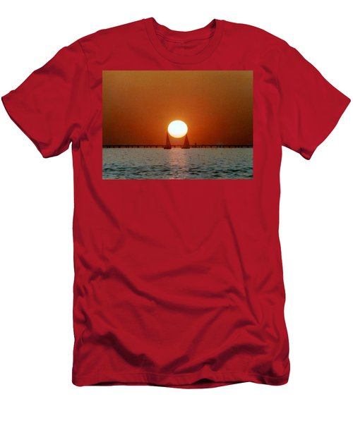 Men's T-Shirt (Slim Fit) featuring the photograph New Orleans Sailing Sun On Lake Pontchartrain by Michael Hoard