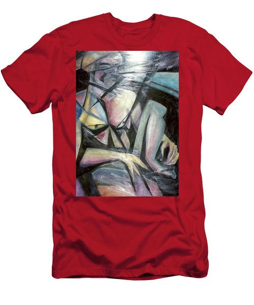 Men's T-Shirt (Slim Fit) featuring the mixed media Nude Model In Studio by Carrie Maurer