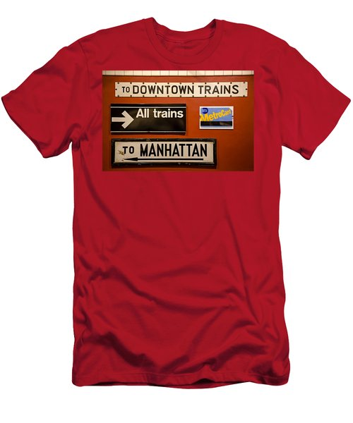 Nyc Subway Signs Men's T-Shirt (Athletic Fit)