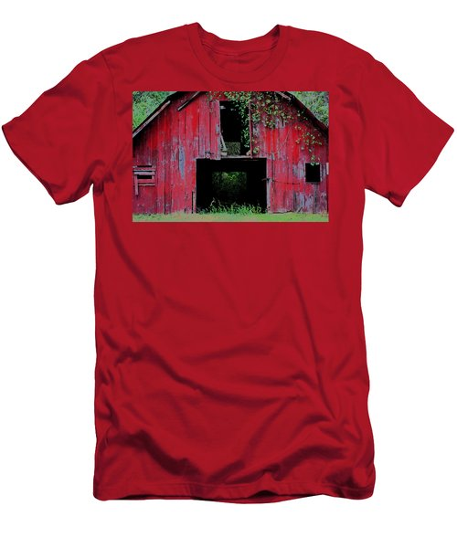 Men's T-Shirt (Slim Fit) featuring the photograph Old Red Barn IIi by Lanita Williams