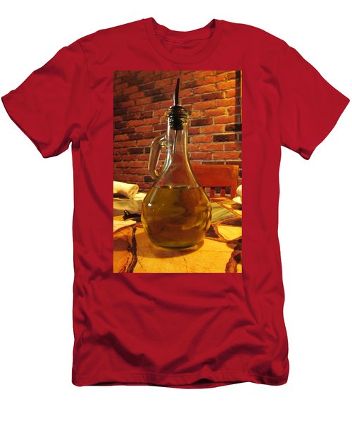Men's T-Shirt (Slim Fit) featuring the photograph Olive Oil On Table by Cynthia Guinn