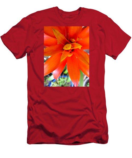 Orange Bromeliad Men's T-Shirt (Slim Fit) by Lehua Pekelo-Stearns