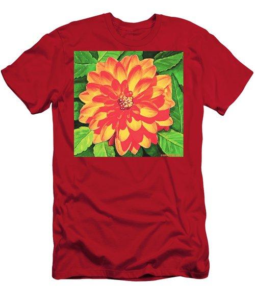 Men's T-Shirt (Slim Fit) featuring the painting Orange Dahlia by Sophia Schmierer