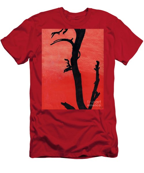 Men's T-Shirt (Slim Fit) featuring the drawing Orange Sunset Silhouette Tree by D Hackett