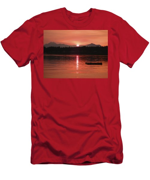 Our Beach At Sunset  Men's T-Shirt (Slim Fit) by Kym Backland