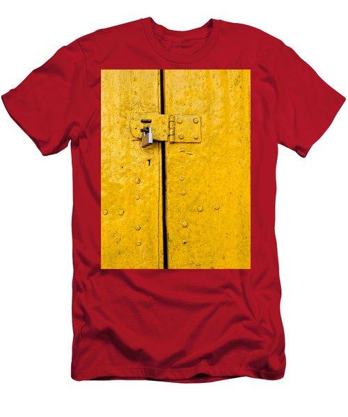 Padlock On An Old Yellow Door Men's T-Shirt (Athletic Fit)