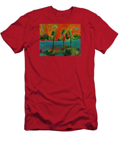 Palm Trio Sunset Men's T-Shirt (Slim Fit) by Elizabeth Fontaine-Barr