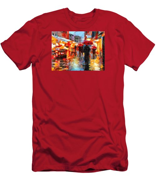 Parisian Rain Walk Abstract Realism Men's T-Shirt (Athletic Fit)