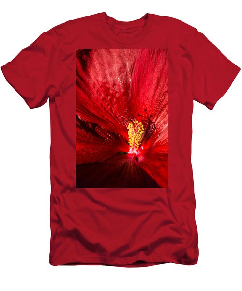 Passionate Ruby Red Silk Men's T-Shirt (Slim Fit)