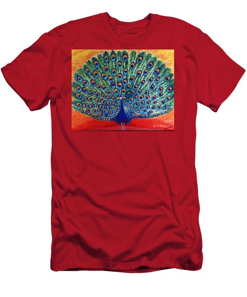 Men's T-Shirt (Slim Fit) featuring the painting Peacock By Jasna Gopic by Jasna Gopic
