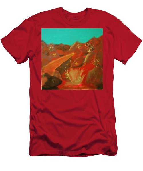 Men's T-Shirt (Slim Fit) featuring the painting Petroglyph Park by Keith Thue