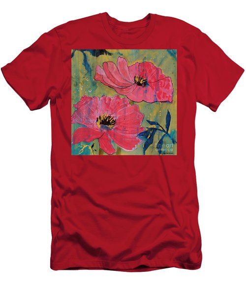 Men's T-Shirt (Slim Fit) featuring the painting Pink Blossoms by Robin Maria Pedrero