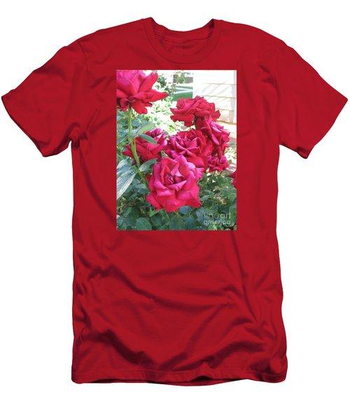 Pink Roses Men's T-Shirt (Slim Fit) by Chrisann Ellis