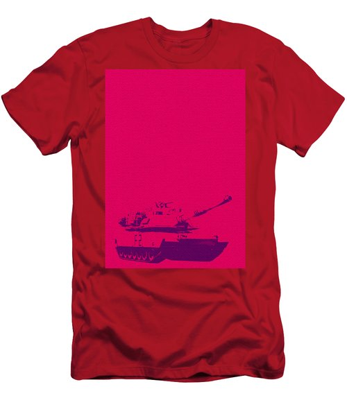 Men's T-Shirt (Athletic Fit) featuring the mixed media Pink Tank by Michelle Dallocchio