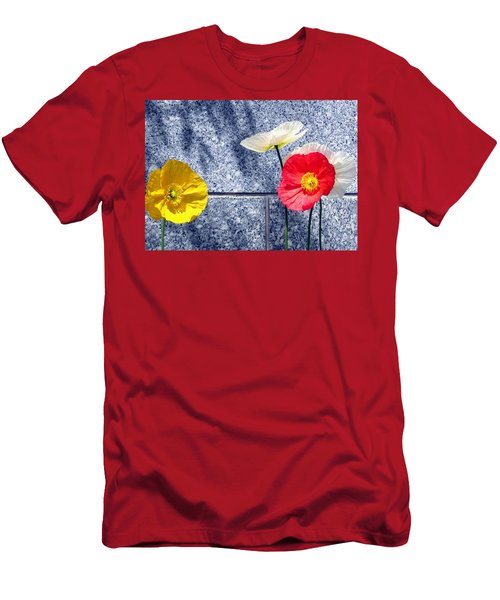 Men's T-Shirt (Athletic Fit) featuring the digital art Poppies And Granite by Will Borden