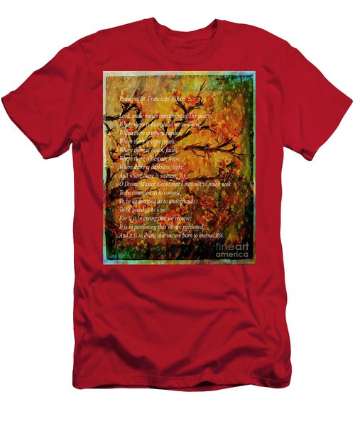 Prayer Of St. Francis Of Assisi  And Cherry Blossoms Men's T-Shirt (Athletic Fit)