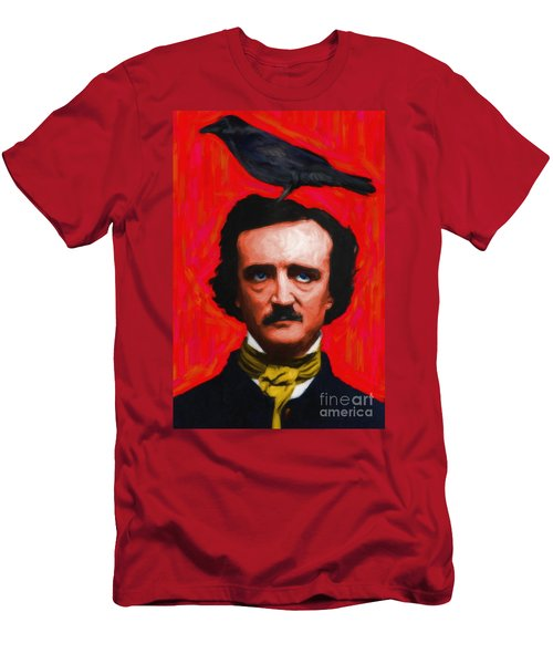 Quoth The Raven Nevermore - Edgar Allan Poe - Painterly - Red - Standard Size Men's T-Shirt (Athletic Fit)