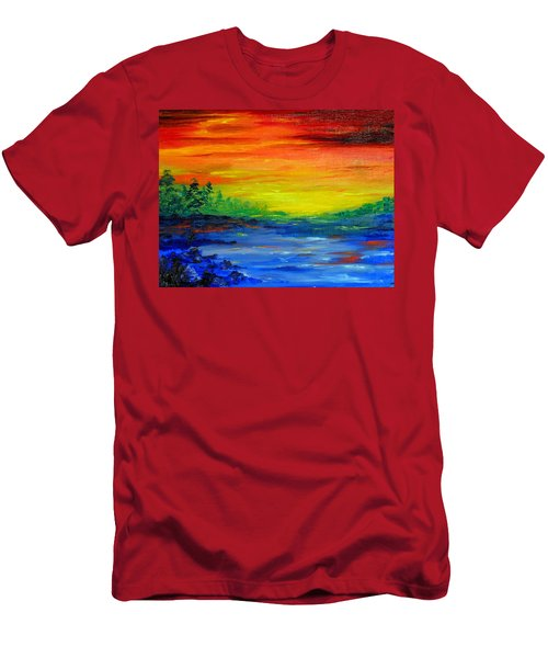 Rainbow Back Waters Men's T-Shirt (Athletic Fit)