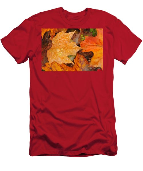 Raindrops On Fallen Maple Leaf Men's T-Shirt (Athletic Fit)