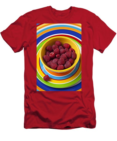 Raspberries In Yellow Bowl On Plate Men's T-Shirt (Athletic Fit)