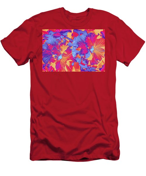 Red And Blue Pansies Pop Art Men's T-Shirt (Slim Fit) by Dora Sofia Caputo Photographic Art and Design