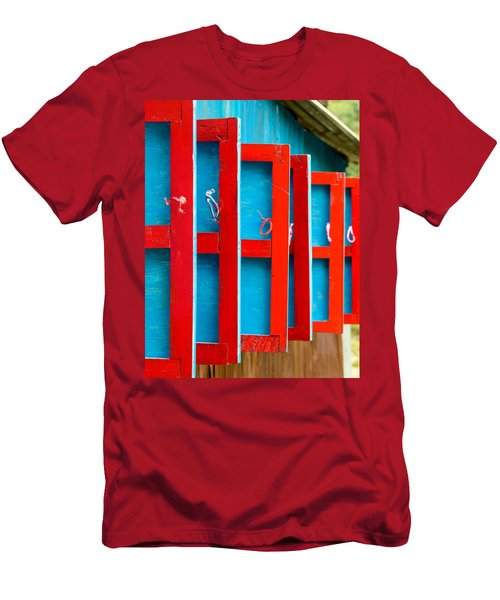 Red And Blue Wooden Shutters Men's T-Shirt (Athletic Fit)