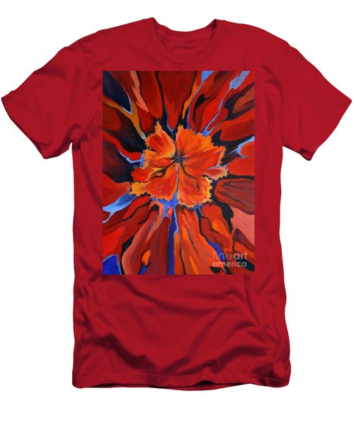 Men's T-Shirt (Slim Fit) featuring the painting Red Bloom by Alison Caltrider