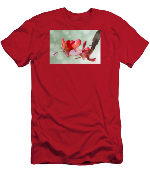 Red Christmas Cactus Bloom Men's T-Shirt (Slim Fit) by Patti Deters