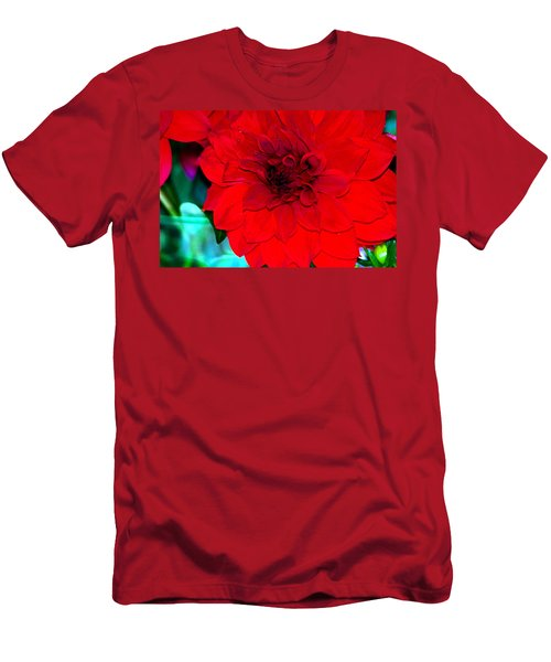 Men's T-Shirt (Slim Fit) featuring the photograph Red Dahlia by Lehua Pekelo-Stearns