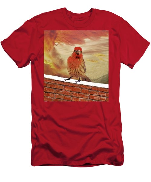 Red Finch On Red Brick Men's T-Shirt (Slim Fit) by Janette Boyd